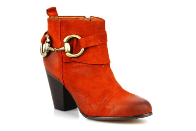 Orange suede boots with gold hardwear