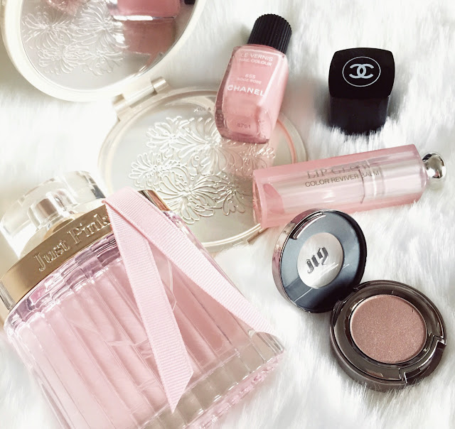 Next Just Pink Perfume, Urban Decay Sin Eyeshadow, Dior Lip Glow, Chanel Beige Rose Nail Polish