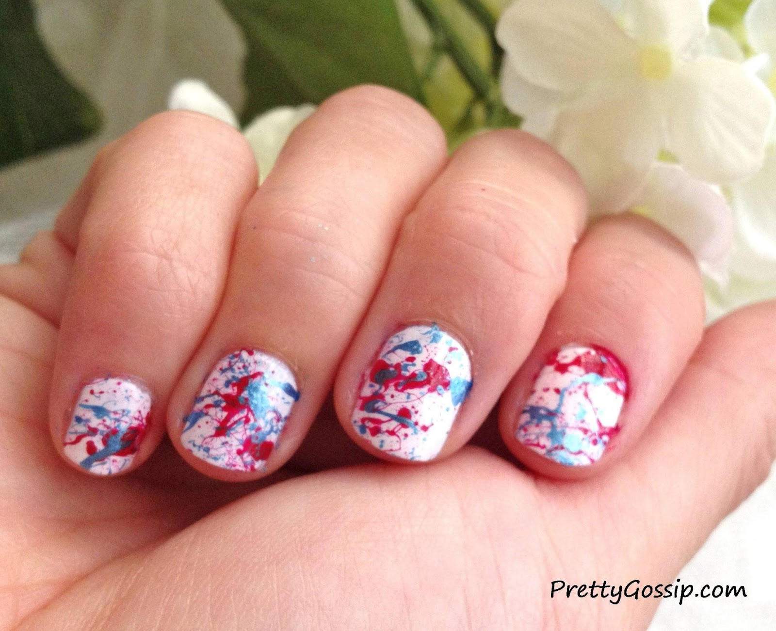 4th of July Nail Ideas!: Easy 4th of July Splatter Nail Design