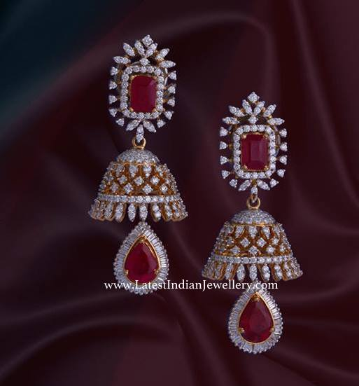 Diamond Jhumkas with Changeable Stones