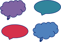 colorful dialogue, text bubbles