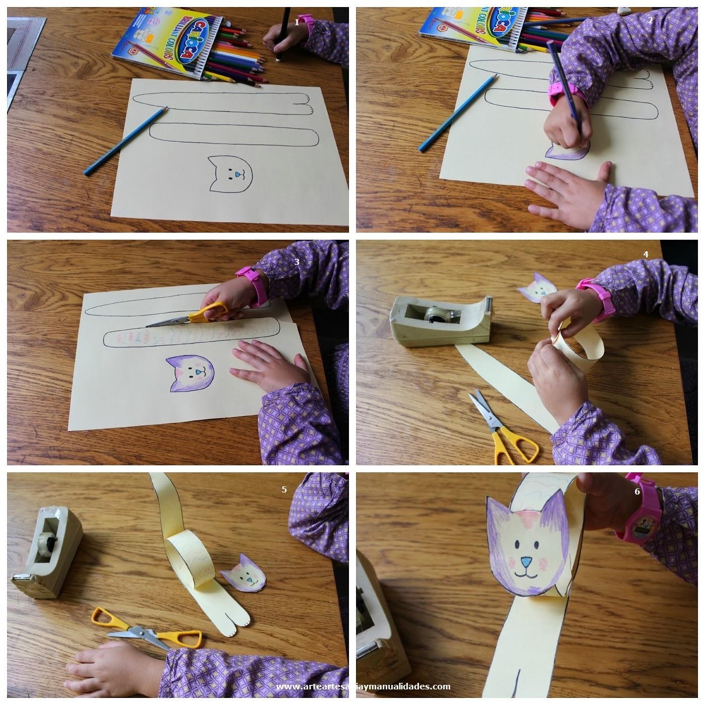 1) Dibuja en un papel algo similar a lo que veis en la imagen (dos tiras  largas y una cabeza). 2) Pinta a tu gusto. 3)Recorta todas las partes.
