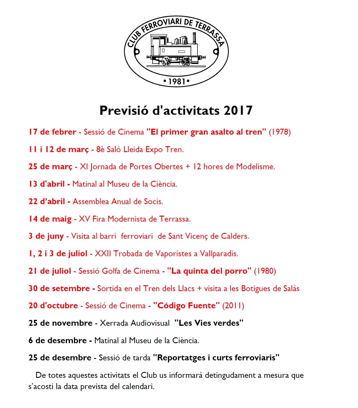 Modificació i Actualització de la Previsió d'Activitats del Club Ferroviari de Terrassa. 7-NOV-2017