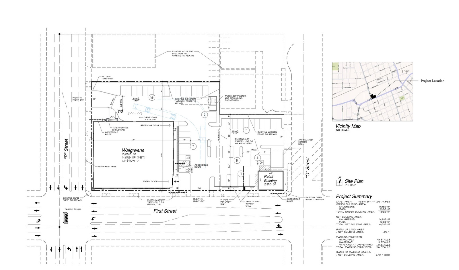 Jerold l dougal architect 31st walgreens submitted for for Building site plan