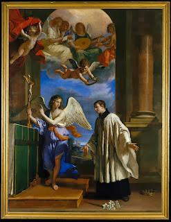 San Luis en el Altar con un angel que le muestra un crucifijo y coro de angeles