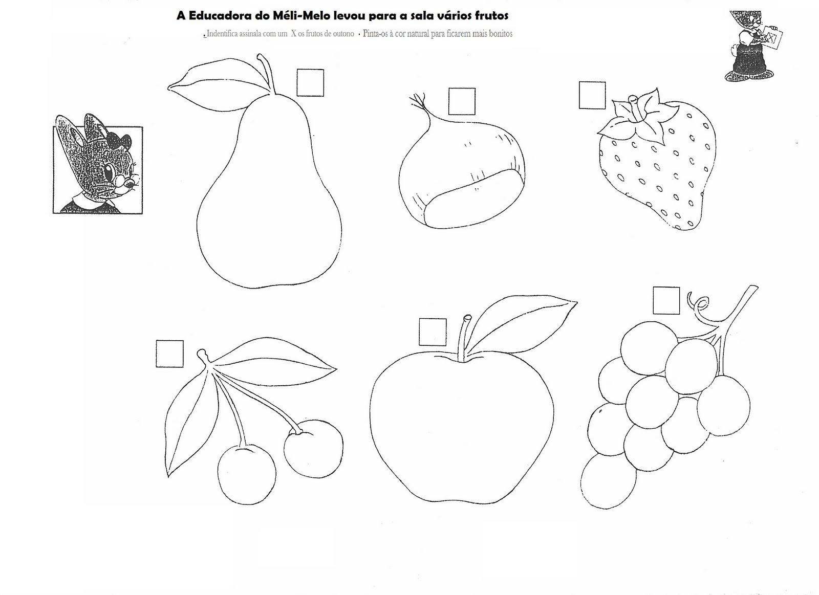 Fruta e hortaliças Desenhos para imprimir - imagens frutos outono colorir