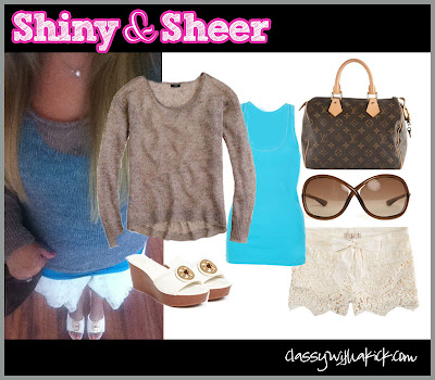 Classy with a Kick: J Crew Linen Sweater Lulus Lace Shorts Louis Vuitton