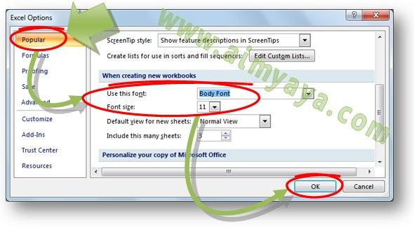 Gambar: Cara merubah font default Calibri 11 point menjadi Arial atau Times New Roman 12 point saat membuat dokumen atau worksheet baru di Microsoft Excel