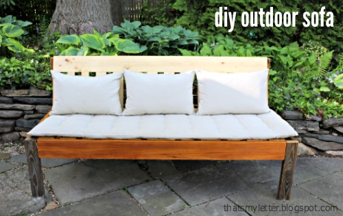 Build An Outdoor Sofa Using 2x Wood Scraps And Top It With Ikea Cushions  For Extra Outdoor Seating.