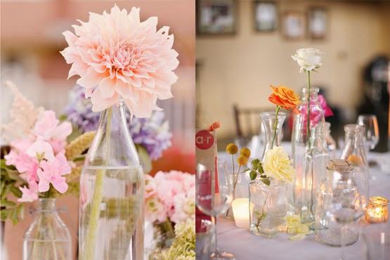 Diy boda centros de mesa con envases de vidrio ideas - Mesas de centro de cristal ...
