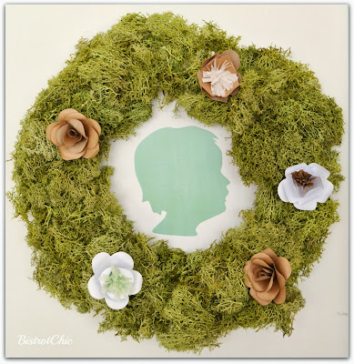 Silhouette Wreath with moss and paper flowers from BistrotChic