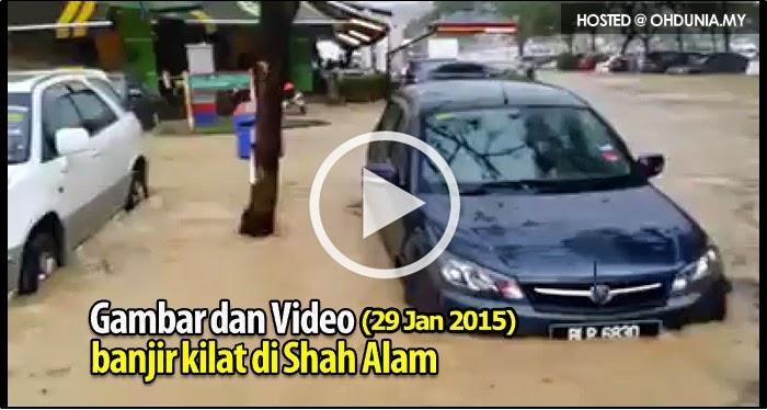 Gambar dan Video kejadian banjir kilat di Seksyen 13, Shah Alam