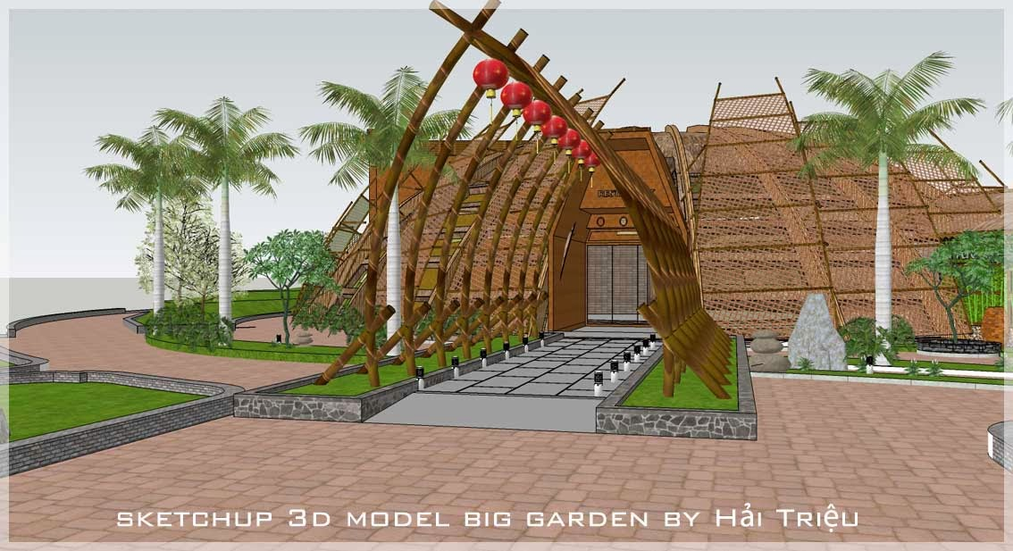 Sketchup texture free sketchup 3d model big garden for Gardening tools 3d model