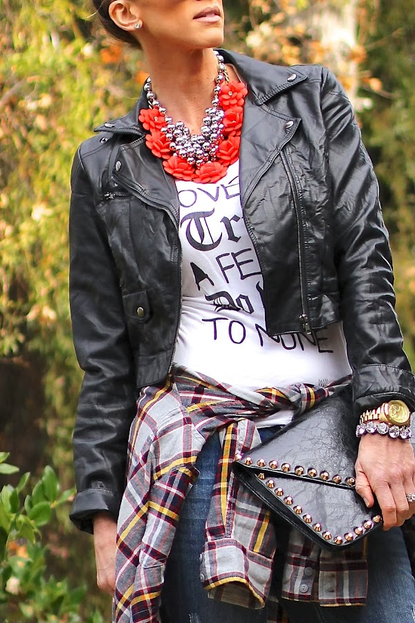 layered necklaces with moto jacket