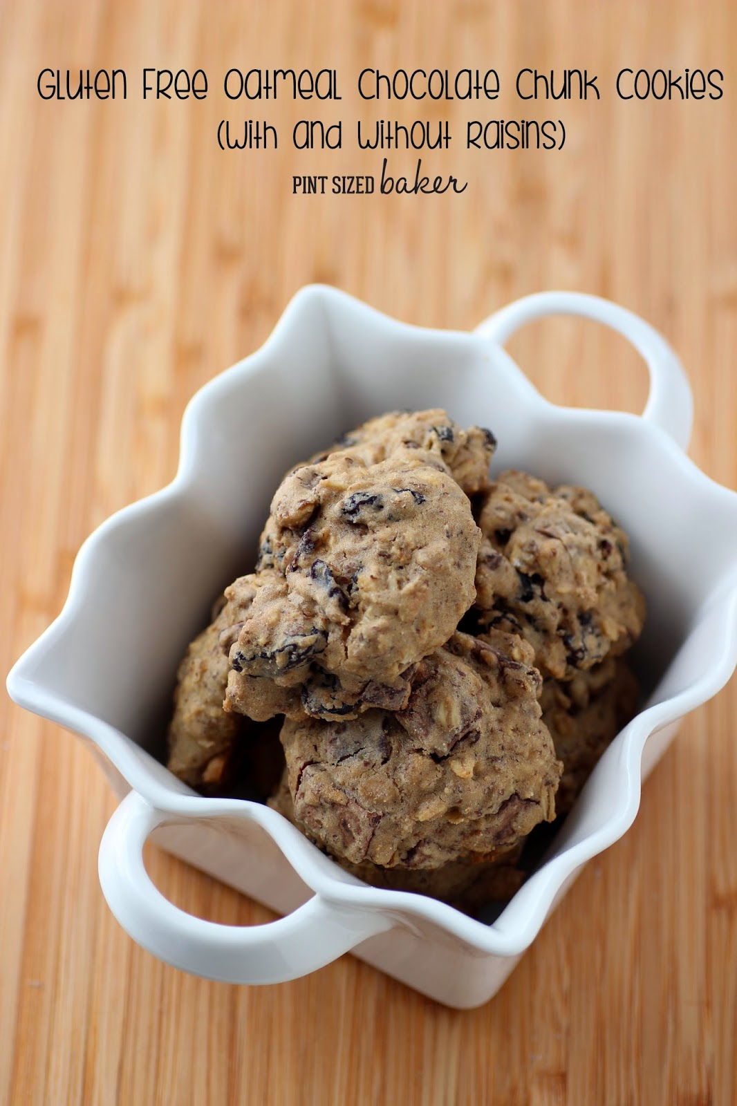 A great recipe for Gluten Free Oatmeal Chocolate Chunk Cookies. The raisins are totally optional, but I loved them!