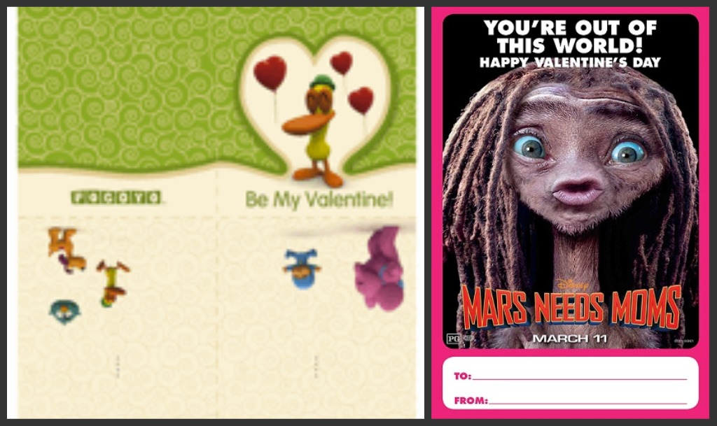 Life With 4 Boys Free Pocoyo and Disney Mars Needs Moms – Boy Valentines Day Cards