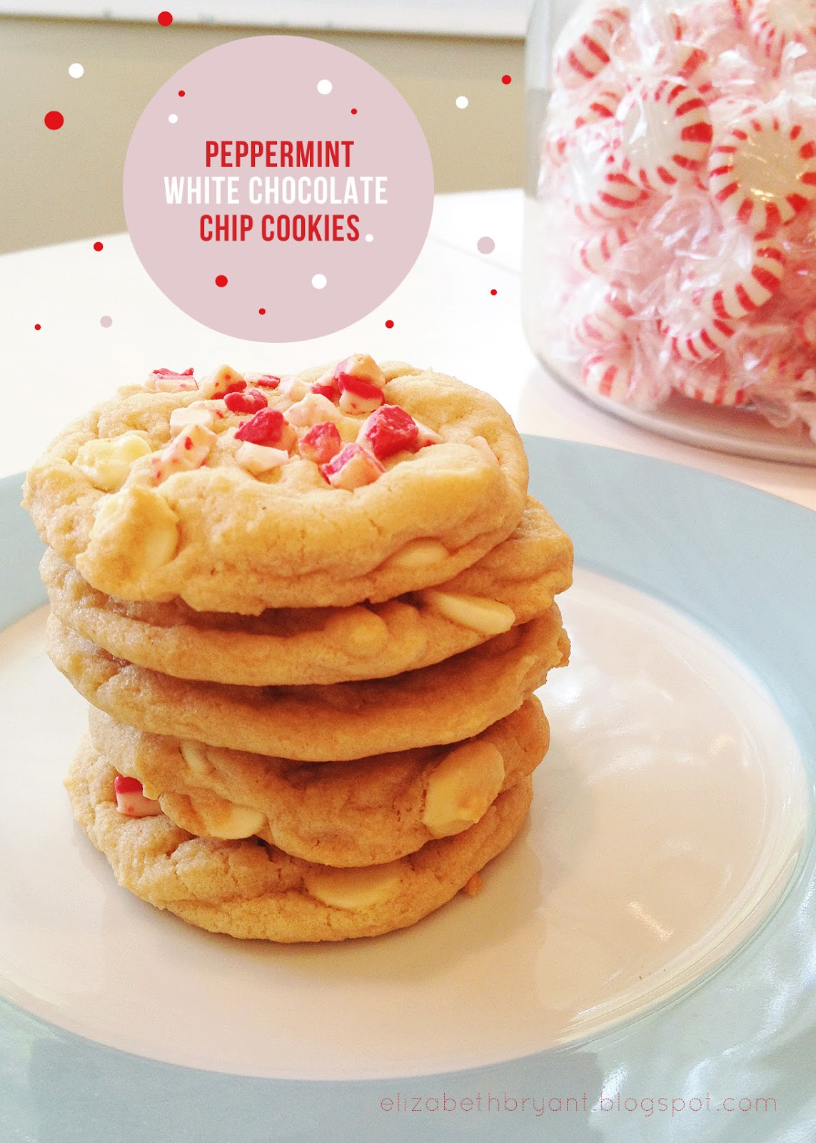 lizzy write: peppermint white chocolate chip cookies