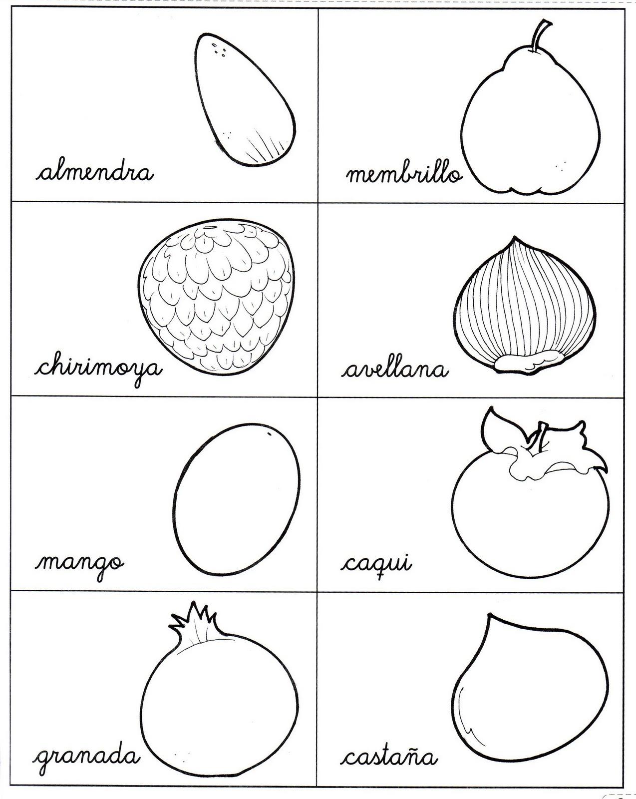 Frutas de otoño para colorear - Imagui