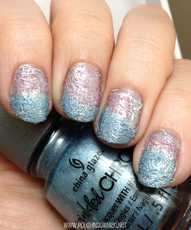 China Glaze Crinkled Chrome nail art gradient