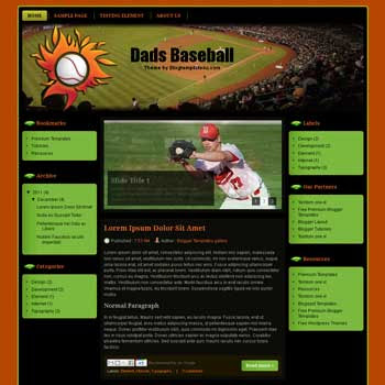 Dads Baseball Blogger Template. free sport blogger template