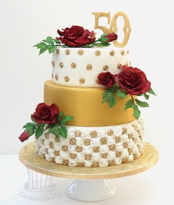 goldene hochzeit wedding torte zuckerrose fondant rote rose