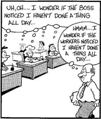 Funny boss and workers