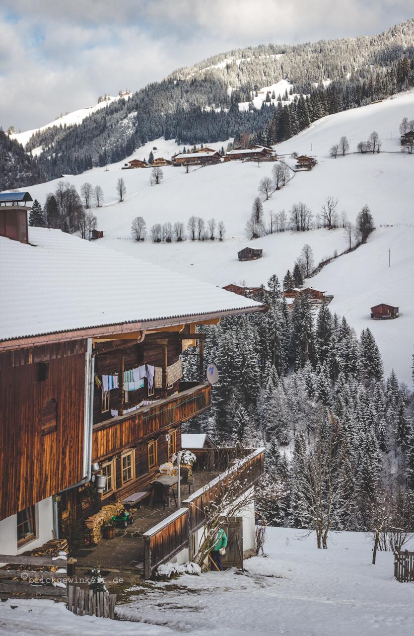 Bauernhof, Holzhaus im Schneetal
