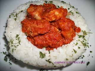Carmen y sus recetas magro de cerdo con tomate y arroz for Arroz blanco cocina al natural