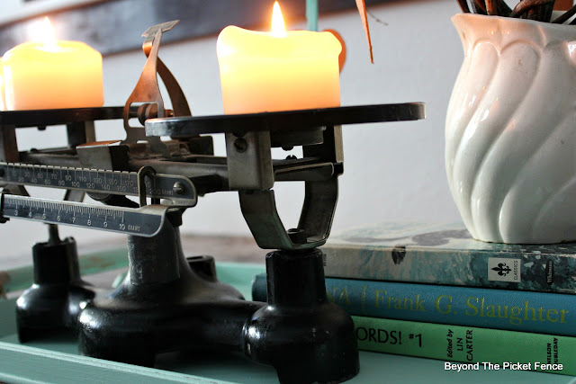 centerpiece, scale, balance tray, candles, decor, rustic, industrial, http://bec4-beyondthepicketfence.blogspot.com/2016/01/how-to-make-centerpiece.html