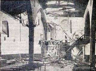 Candelario salamanca Iglesia parroquial en 1929 despues del rayo