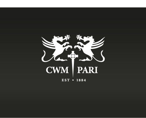 Cwm Pari Estate Logo / identity (white)