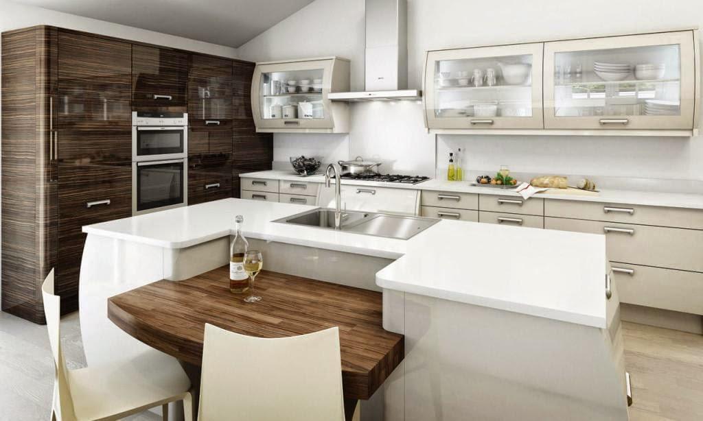 30 modelos de mesas y barras para cocinas de todos los for Isla de cocina con mesa