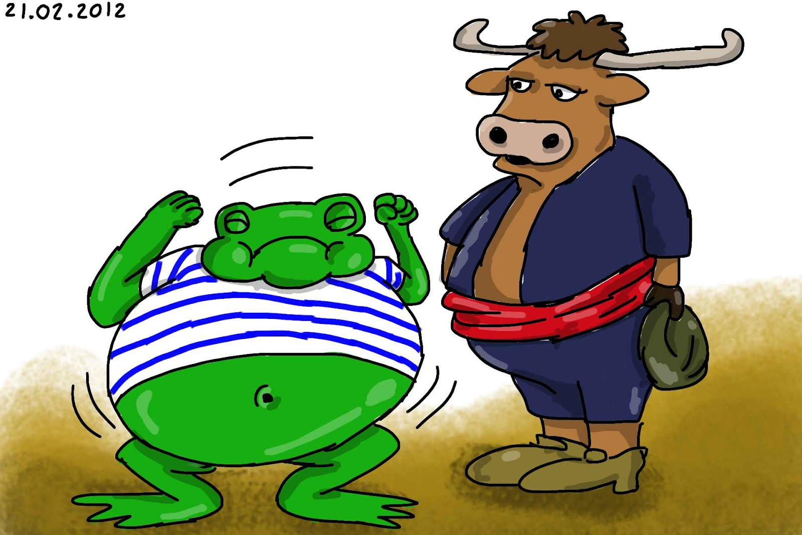 illustration de la grenouille et le boeuf