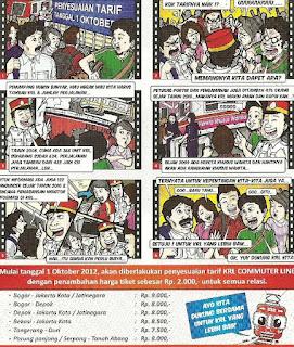 Komik Penyesuaian Tarif KRL Commuter Line Jabodetabek per 1 Oktober 2012