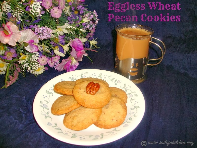Eggless Wheat Pecan Cookies recipe / Whole Wheat Pecan Cookie recipe / Wheat Pecan Cookies recipe / Eggless Cookie Recipe