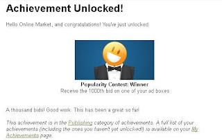 Achievement Unlock-Popularity Contest: Winner Receive the 1000th bid