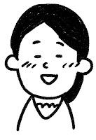 ■の表情のイラスト(照れ)白黒線画