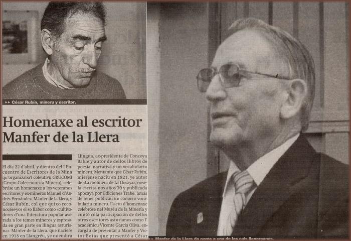 Homenaje a César Rubín y Manfrer de la Llera, Primer Encuentro de Escritores de la Mina