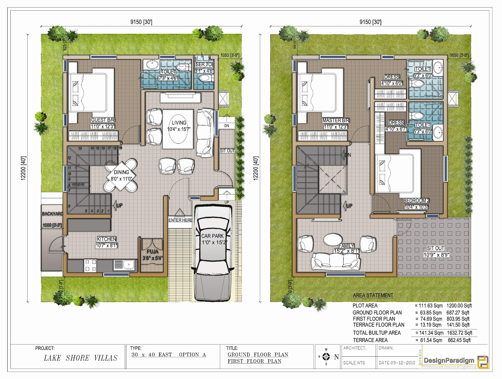 Lake shore villas designer duplex villas for sale in for 30x40 duplex house floor plans