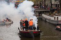 Boats at Koninginnedag in Amsterdam
