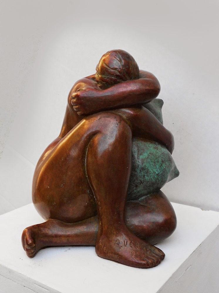 Sculpture bronze d'Adèle Vergé : Nu à l'oreiller