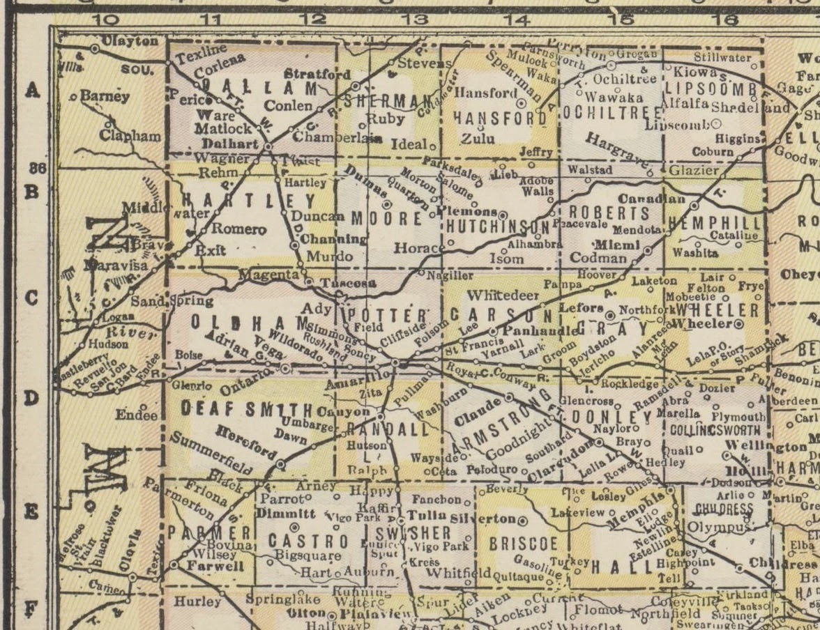 History of Amarillo, Texas: 1928 Map of the Texas Panhandle