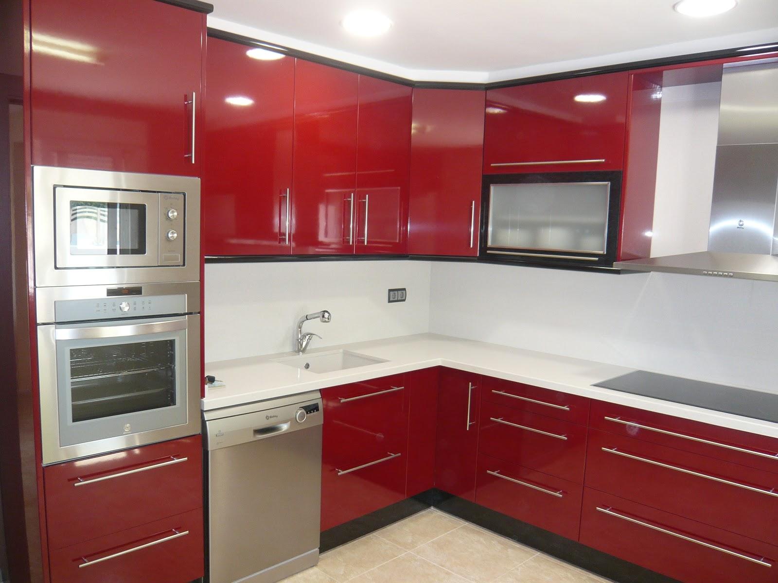 Reuscuina cocina de formica rojo negra - Formica para cocinas ...