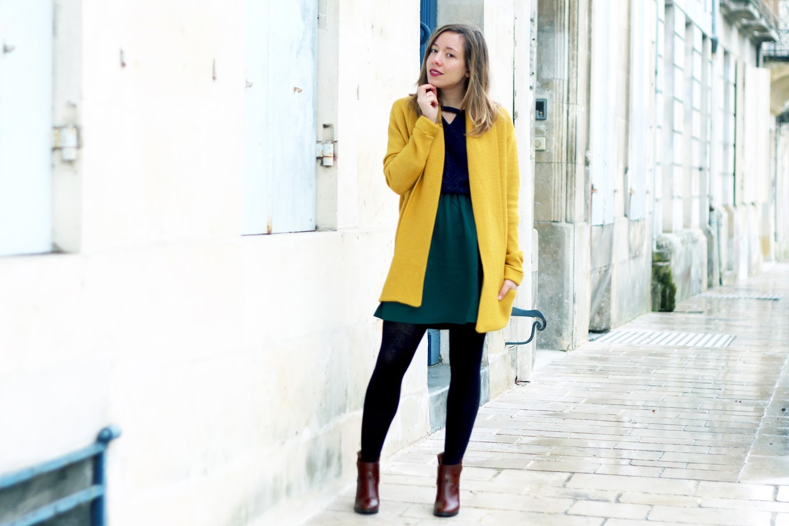Cardigan jaune moutarde