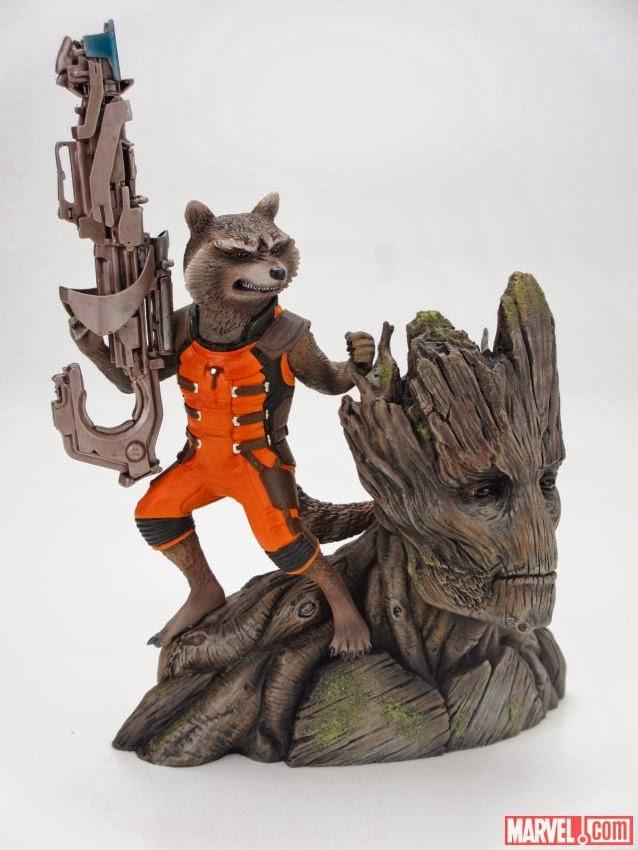 Busto Rocket Racoon e Groot