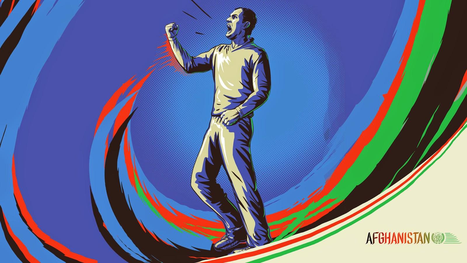 Mohammad Nabi Afghanistan cricketer illustration sketch