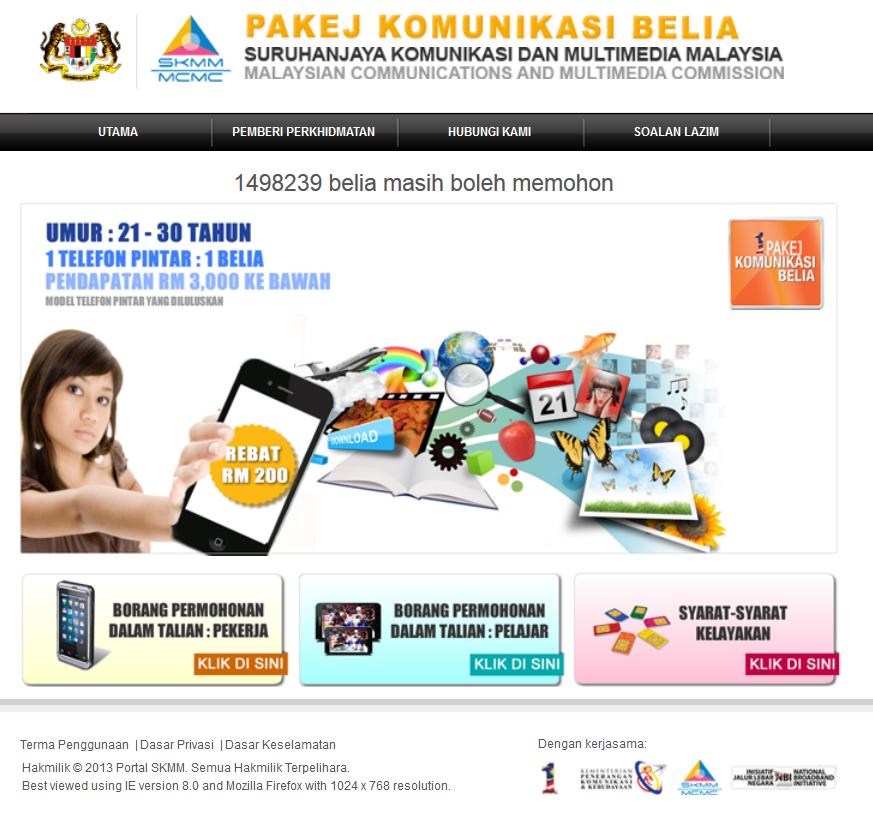 Laman+SKMM Pendaftaran Pakej Komunikasi Belia   Rebat RM200 SKMM Di Buka Sekarang!