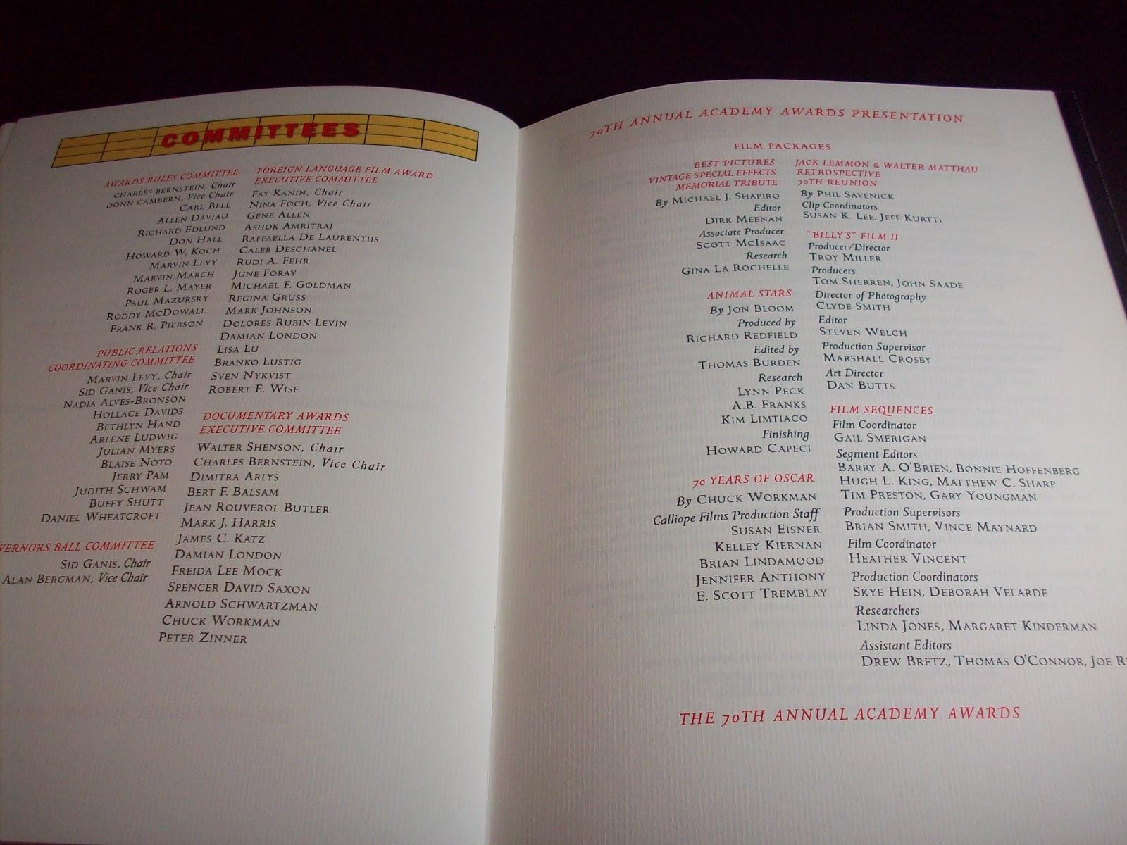 Academy Award Program p. 16 ) ( 70th Academy Awards Program image 20