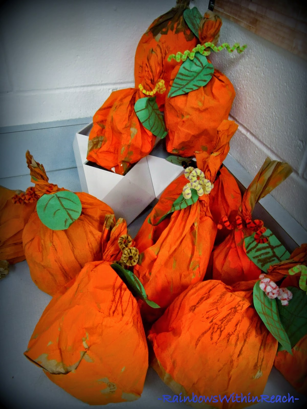 Easy Kids Craft: Pumpkins from Paper Bags at RainbowsWithinReach