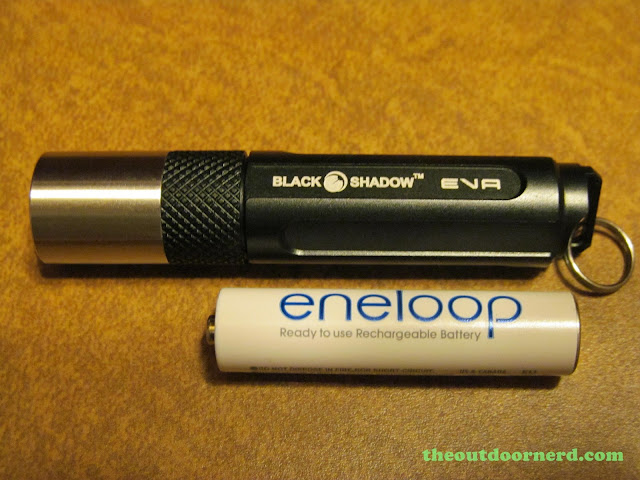 BlackShadow Eva AAA Flashlight - Shown With Eneloop AAA Battery